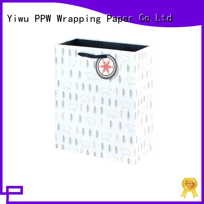 PPW quality white gift bags factory price for advertising