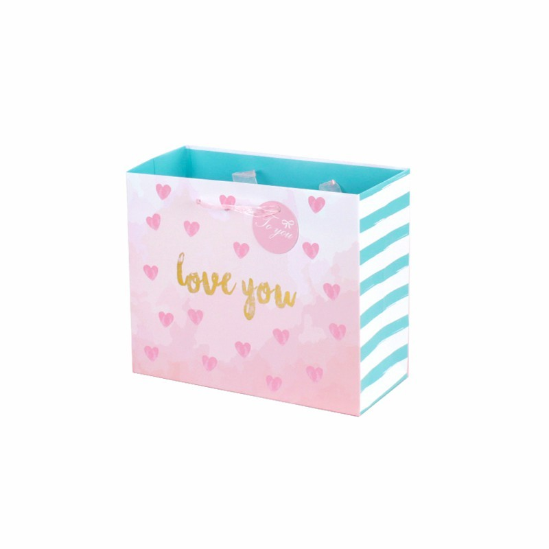 Valentine Gift Paper Bag With Handles Punch Handle Style Plain Paper Bags