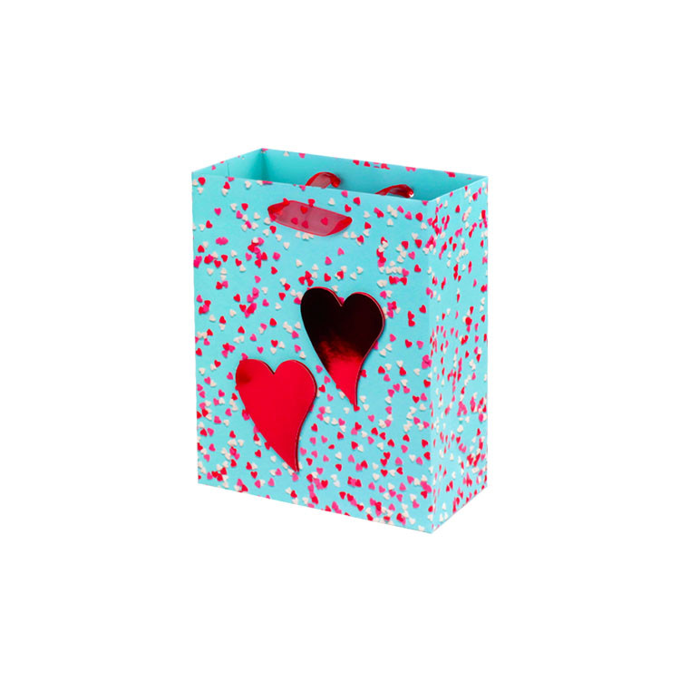 Valentine Custom Gift Paper Bag Punch Handle Style Pink Paper Bags
