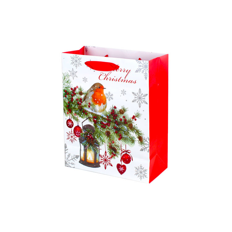 Christmas Goodie Gift Bag Punch Handle Style Custom Retail Packaging
