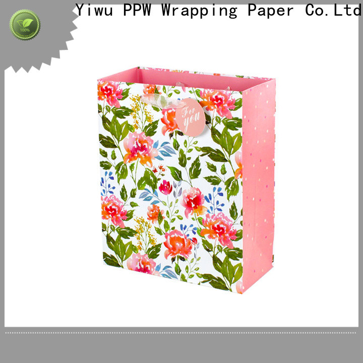PPW popular white gift bags factory price for advertising